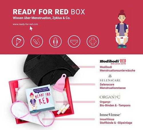 READY FOR RED Anschauungs-Box mit Menstruationsprodukten